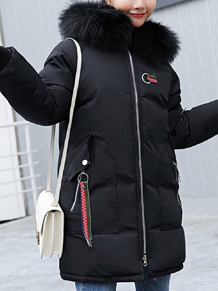 Image of Women Puffer Coat Faux Fur Collar Hooded Coat Animal Embroidered Pockets Winter Coat
