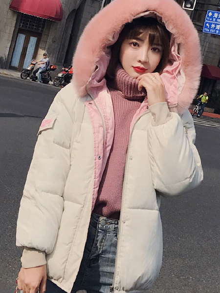 Image of Women Puffer Coat Faux Fur Collar Hooded Coat Letters Print Pockets Winter Coat