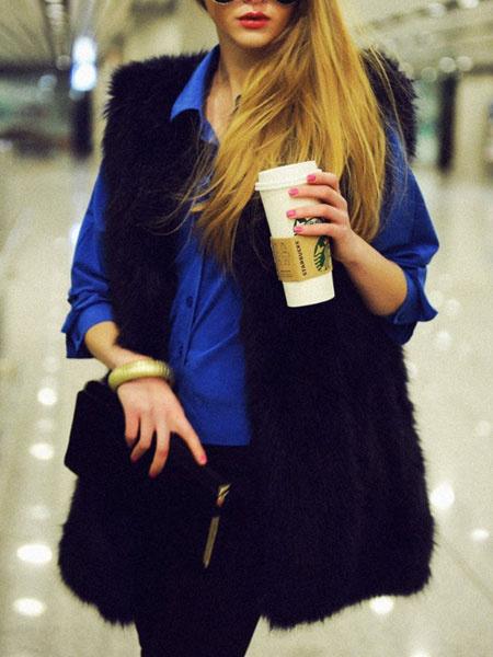 Image of Faux Fur Vest Jacket Women Sleeveless Furry Coat Winter Coat