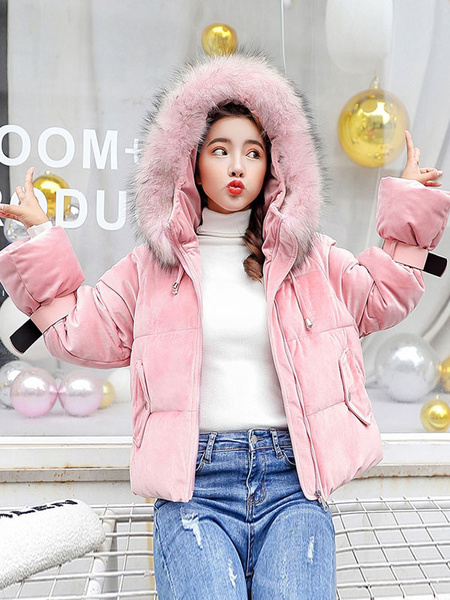 Image of Women Velour Puffer Coat Faux Fur Collar Hooded Coat Pockets Winter Coat