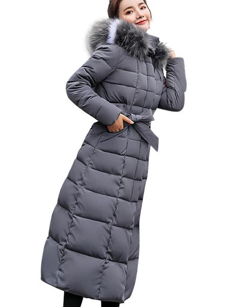 Image of Women Puffer Coat Removable Faux Fur Collar Hooded Coat Longline Winter Coat
