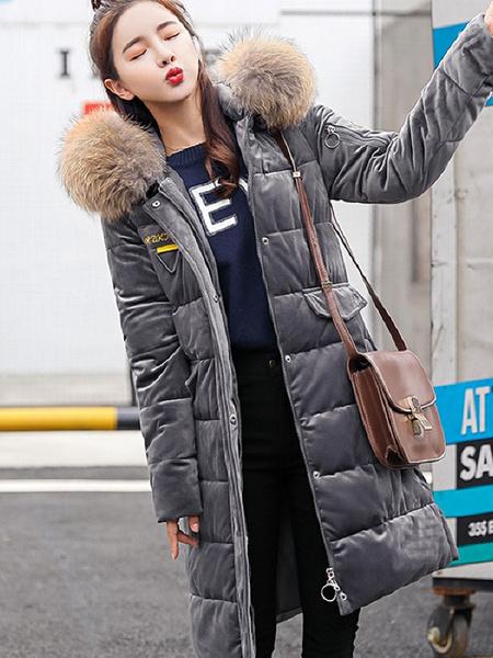 Image of Women Puffer Coat Velour Hooded Coat Faux Fur Collar Pockets Oversized Winter Coat