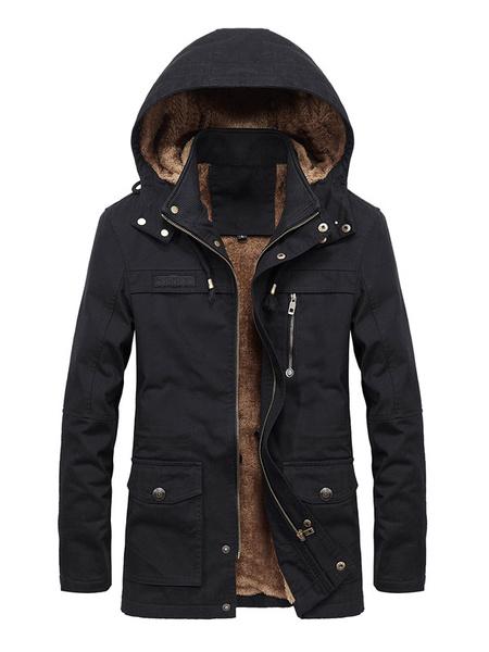 Image of Men Field Jacket Plus Size Pocket Zipper Button Plush Lining Hooded Casual Jacket