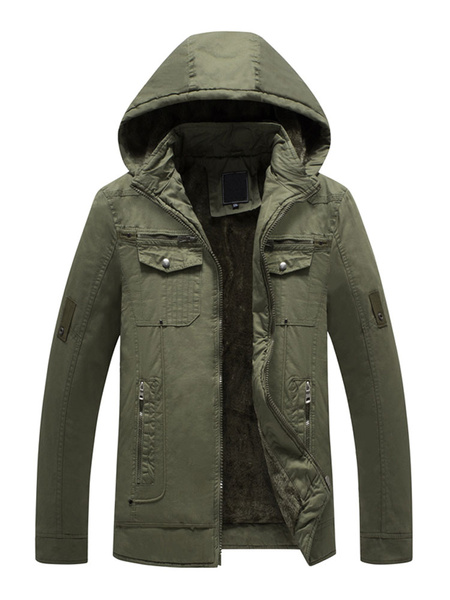 Image of Men Hooded Jacket Plus Size Field Jacket Plush Ling Zipper Long Sleeve Casual Winter Overcoat