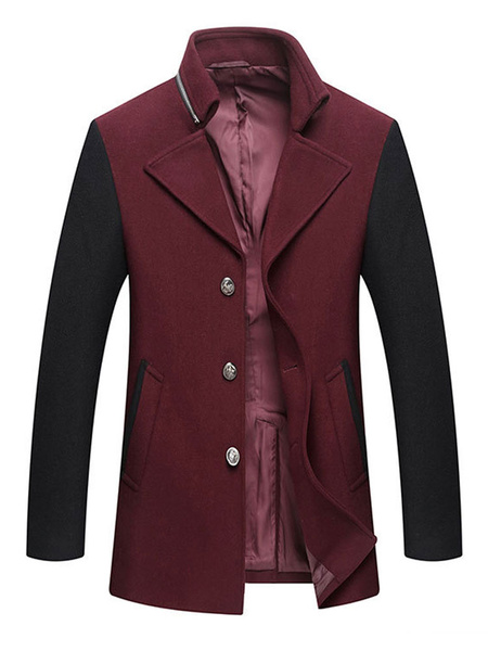 Image of Men Wool Coat Turndown Collar Zipper Decor Camel Coat Button Up Two Tone Winter Casual Overcoat