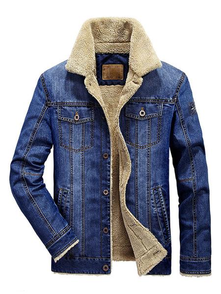 Image of Men Denim Jacket Plus Size Distressed Sherpa Jacket Turndown Collar Plush Lining Pocket Deep Blue Jean Jacket With Fur