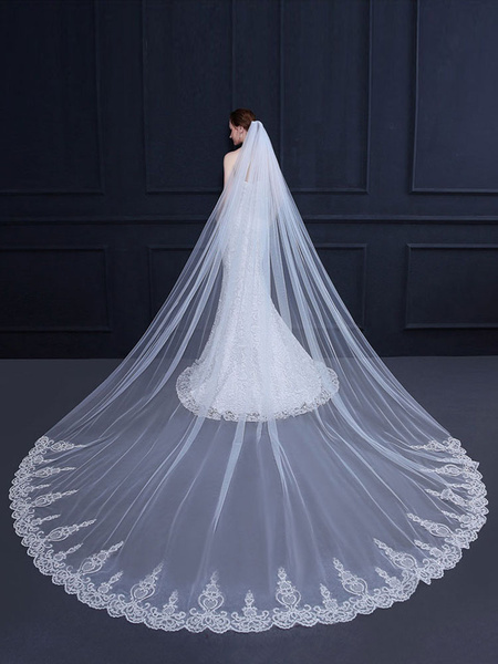 Wedding Veil Cathedral Waterfall Lace Applique Ecru White One Tier Tulle Long Bridal Veil