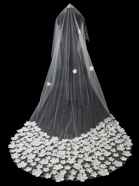 Flower Wedding Veil Ivory One Tier Long Waterfall Cathedral Bridal Veil