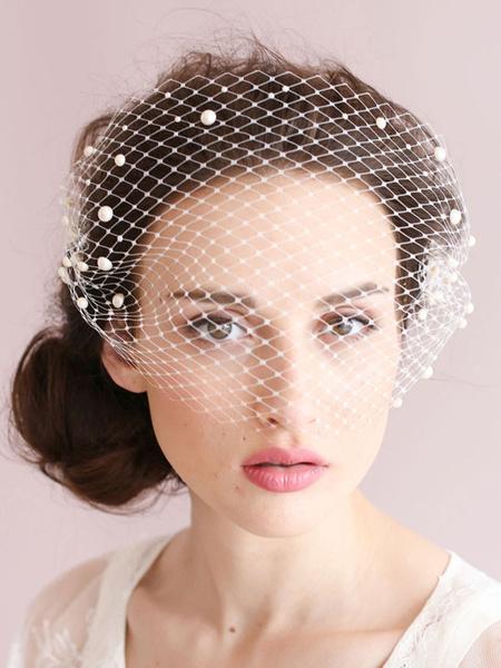 Blusher Veil Wedding Pearls Comb White Bridal Fishnet Birdcage Veil