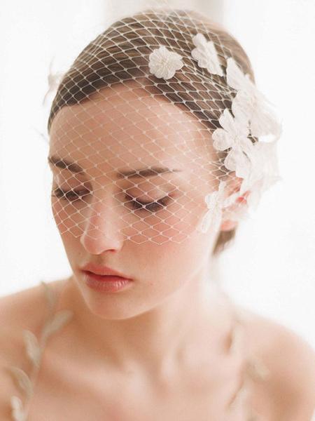 Wedding Birdcage Blusher Veil Flower Comb White Net One Tier Cut Edge Bridal Fishnet Veil