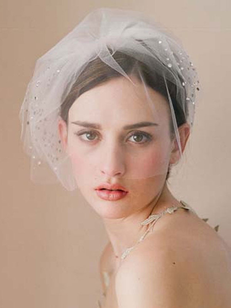 Wedding Birdcage Veil White Tulle Three Tier Bridal Blusher Veil