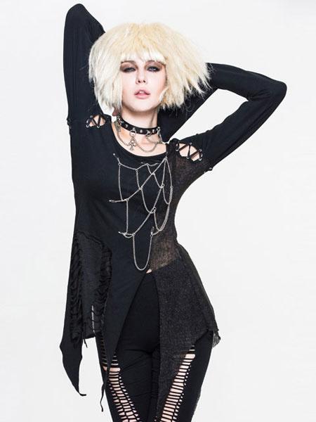 Gothic Top Women Halloween Black Long Sleeve Irregular Chains Punk T Shirt Halloween