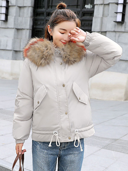 Image of Women Puffer Coat Faux Fur Collar Hooded Winter Coat Letters Embroidered Crawstring Cotton Fill Bubble Coat