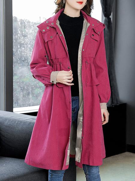 Image of Women Winter Coat Long Sleeve Drawstring Hooded Parka Coat