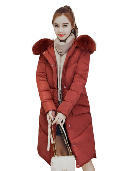 Image of Women Puffer Coat Faux Fur Collar Hooded Coat Drawstring Pockets Cotton Fill Winter Coat