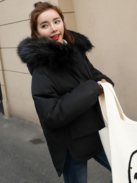 Image of Women Puffer Coat Faux Fur Collar Hooded Bubble Coat Pockets Drawstring Winter Coat
