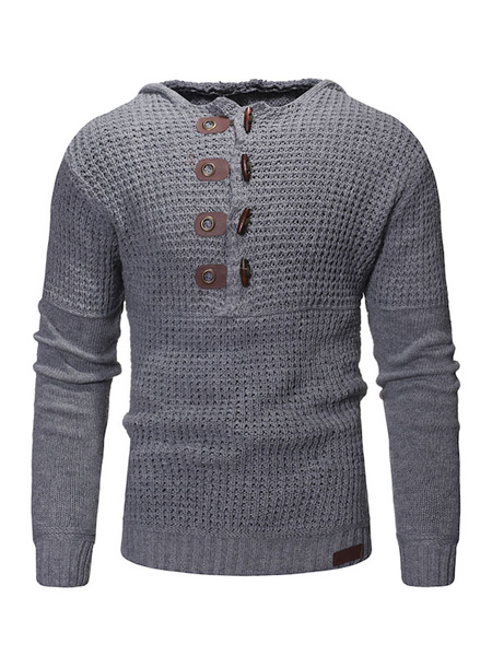 Image of Men Pullover Sweater Hooded Buckle Slim Fit Long Sleeve Casual Sweater