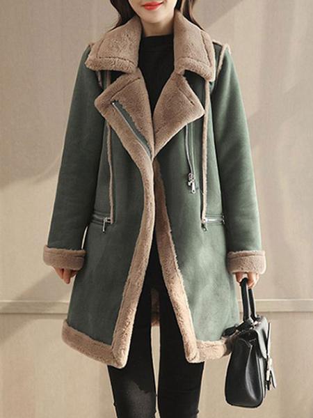 Image of Women Suede Coat Faux Fur Collar Shearling Coat Zip Pockets Winter Coat