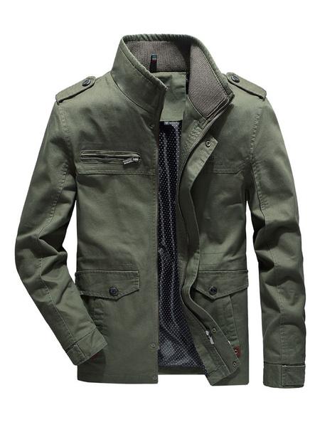 Image of Men Trucker Jacket Plus Size Zipper Pocket Casual Jacket Long Sleeve Hunter Green Field Jacket