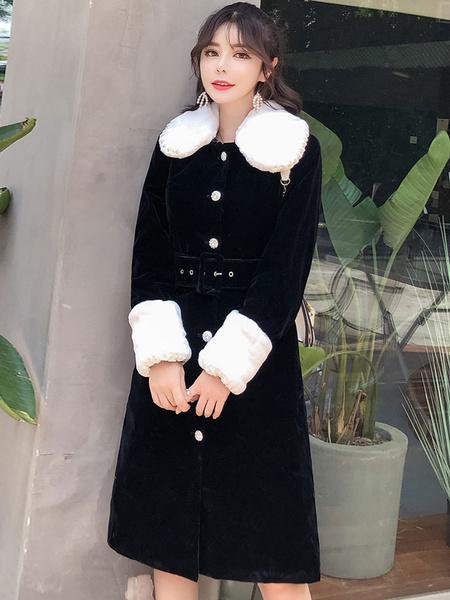 Image of Women Black Coat Velour Coat Faux Fur Peter Pan Collar Winter Coat