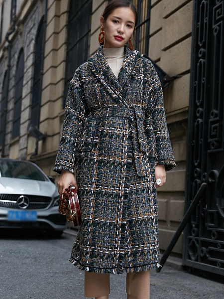 Image of Women Tweed Coat Long Sleeve Checked Pockets Belted Winter Coat
