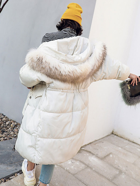 Image of Women Puffer Coat Faux Fur Collar Bubble Coat Drawstring Cotton Fill Hooded Winter Coat