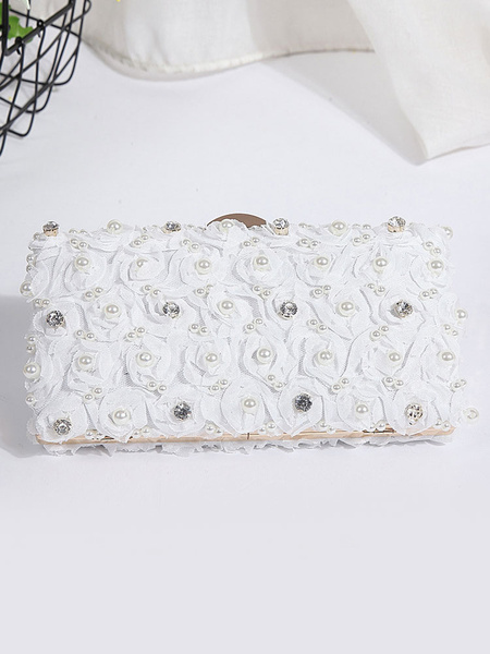 Wedding Bridal Purse Pink Pearls Flowers Beading Rhinestones Evening Handbags (usa41973080) photo
