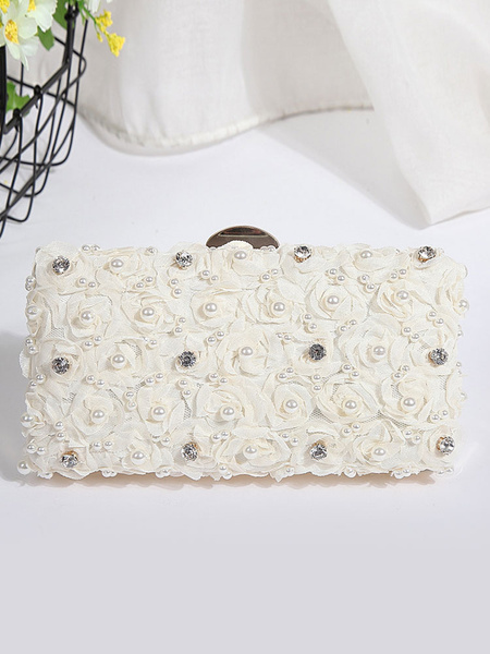 Wedding Bridal Purse Pink Pearls Flowers Beading Rhinestones Evening Handbags (usa41973082) photo