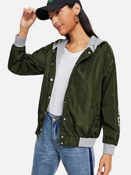 Image of Hooded Varsity Jacket Logo Button Two Tone Long Sleeve Women Stadium Jacket