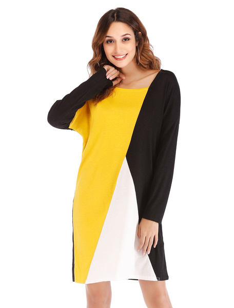 Image of Women Shift Dress Long Sleeve Round Neck Color Block Midi Dress