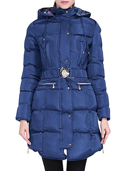 Image of Women Puffer Coat Long Sleeve Drawstring Hooded Winter Coat