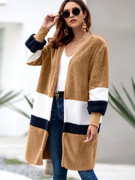 Image of Teddy Bear Coat Color Block Faux Fur Long Sleeve Winter Coat For Women