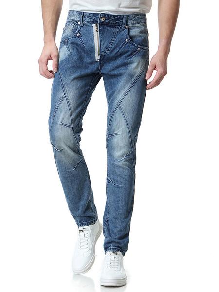 Image of Straight Leg Jean Distressed Seam Design Zipper Denim Jean For Men