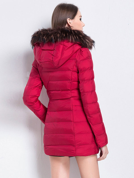 Image of Red Puffer Coat Faux Fur Hooded Full Zip Bubble Coat Cotton Filled Quilted Coat