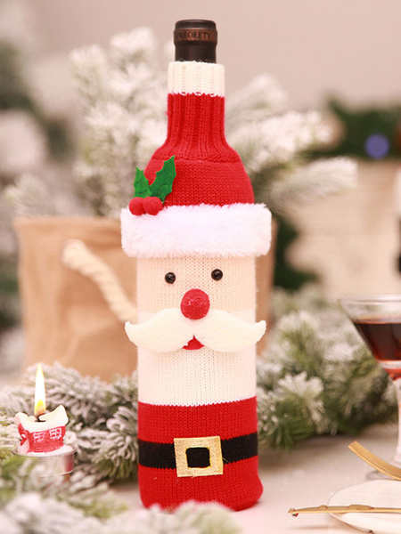 Christmas Bottle Cover Decorations Knitted Santa Clause Snowman Wine Home Dining Table New Year Xmas