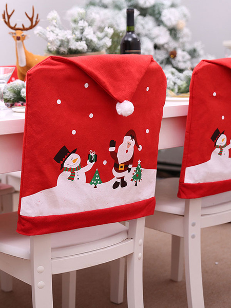 Christmas Chair Cover Santa Claus Snowman Printed Home Xmas Decorations Halloween