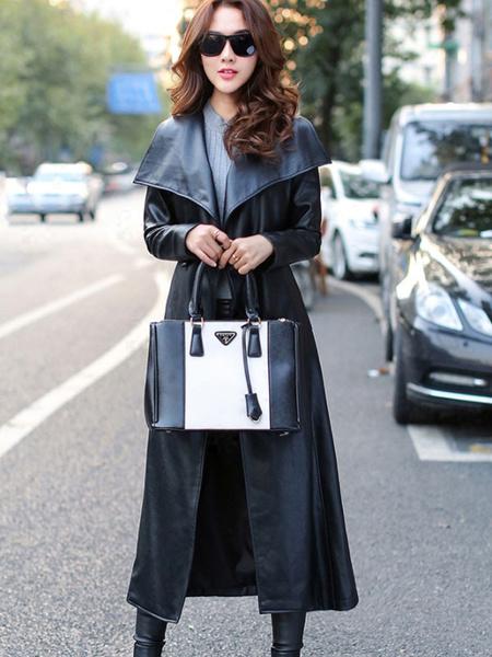 Image of Black Winter Coat Leather Like Tie Belt Turndown Collar Maxi Coat For Women