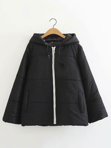Image of Black Puffer Coat Women Hooded Bubble Coat Cotton Filled Drawstring Oversized Quilted Coat