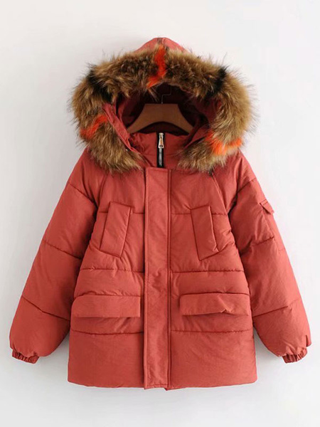 Image of Women Puffer Coat Faux Fur Hooded Bubble Coat Cotton Filled Quilted Coat With Pockets