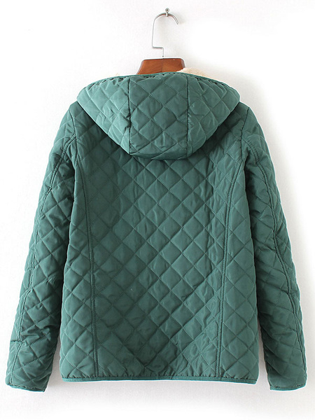 Image of Hooded Quilted Coat Women Puffer Coat Full Zip Long Sleeve Faux Shearling Padded Coat