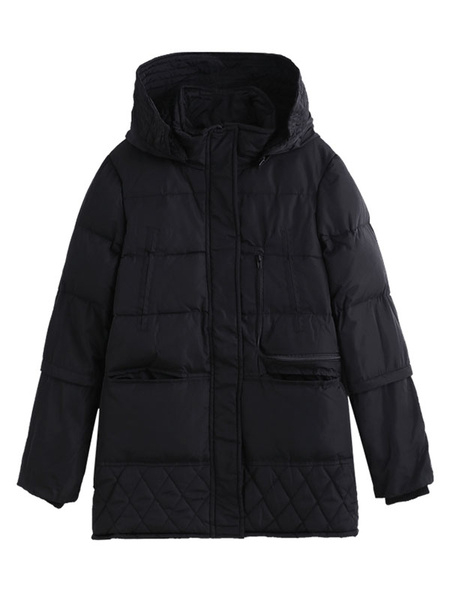 Image of Oversized Puffer Coat Women Hooded Quilted Coat Cotton Filled Padded Coat With Pockets