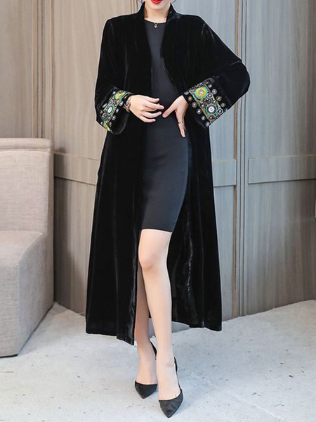 Image of Black Velour Coat Women V Neck Ethnic Embroidered Winter Coat