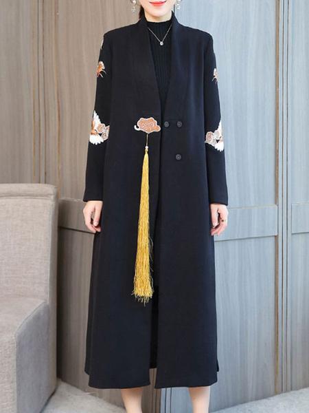 Image of Women Woolen Coat V Neck Embroidered Tassels Ethnic Winter Coat