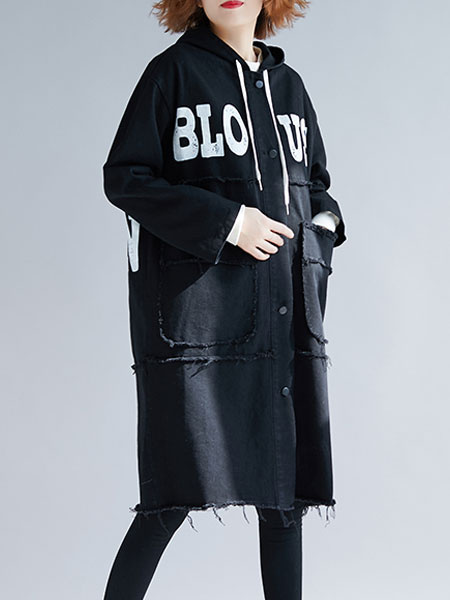 Image of Black Hooded Coat Women Letters Print Drawstring Buttons Hooded Coat