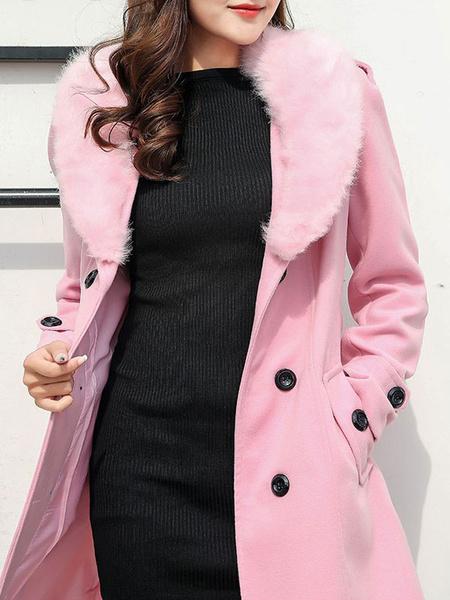 Image of Women Trench Coat Faux Fur Collar Woolen Coat Turndown Collar Winter Peacoat
