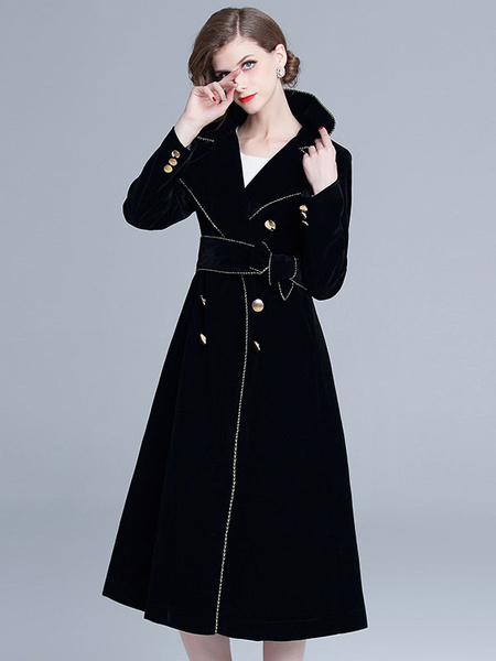 Image of Black Velour Coat Turndown Collar Buttons Piping Winter Coat