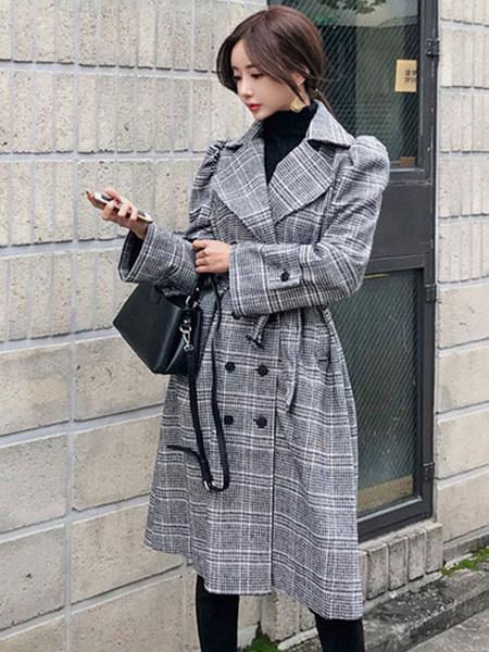 Image of Plaid Trench Coat Women Winter Coat Tie Belt Turndown Collar Casual Peacoat