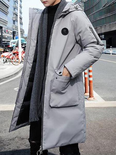 Image of Men Puffer Coat Plus Size Deep Grey Winter Coat Zipper Pocket Hooded Padded Coat