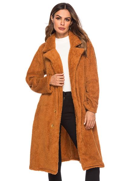 Image of Teddy Bear Coat Hooded Faux Fur Coat Long Sleeve Oversized Winter Coat With Pockets