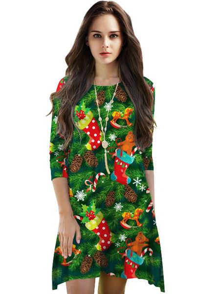 Image of Green Shift Dress Round Neck Christmas Print Casual Dress